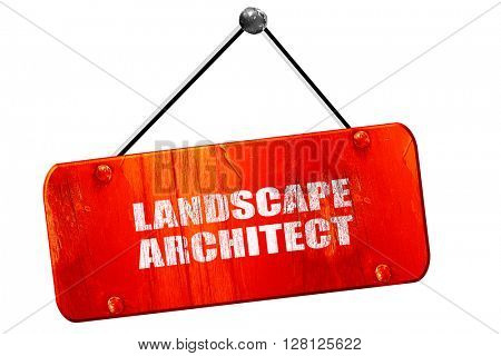 landscape architect, 3D rendering, vintage old red sign
