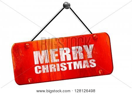 merry christmas, 3D rendering, vintage old red sign