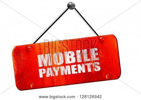 mobile payments, 3D rendering, vintage old red sign