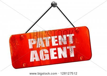 patent agent, 3D rendering, vintage old red sign