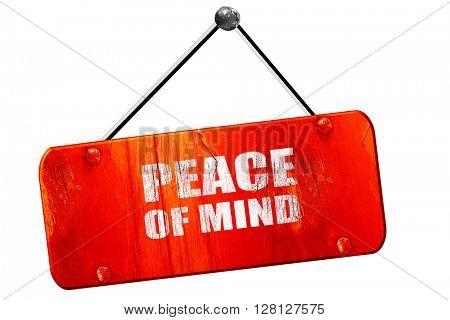 peace of mind, 3D rendering, vintage old red sign