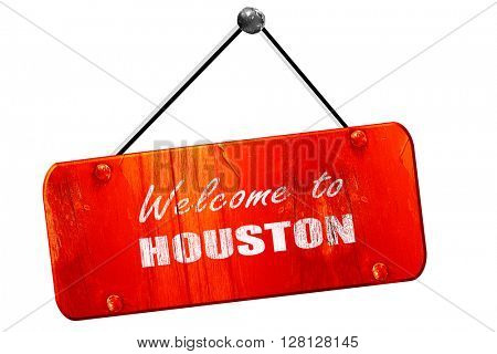 Welcome to houston, 3D rendering, vintage old red sign
