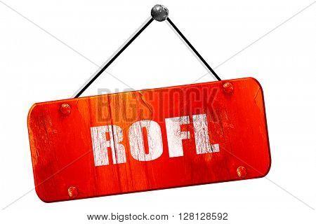 rofl internet slang, 3D rendering, vintage old red sign