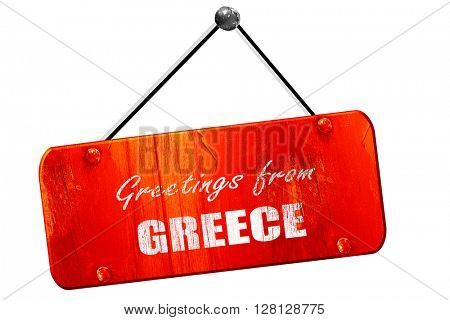 Greetings from greece, 3D rendering, vintage old red sign