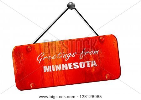Greetings from minnesota, 3D rendering, vintage old red sign