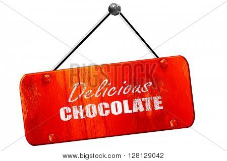 Delicious chocolate sign, 3D rendering, vintage old red sign