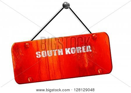 Greetings from south korea, 3D rendering, vintage old red sign