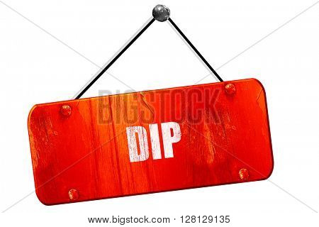 Delicious dip sign, 3D rendering, vintage old red sign