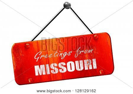 Greetings from missouri, 3D rendering, vintage old red sign
