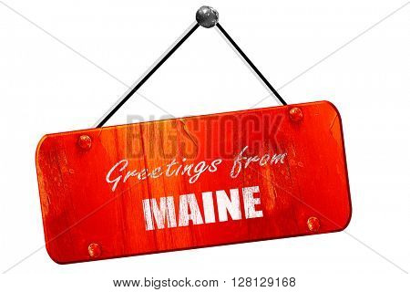 Greetings from maine, 3D rendering, vintage old red sign