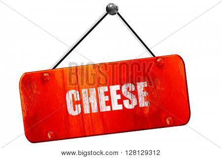 Delicious cheese sign, 3D rendering, vintage old red sign