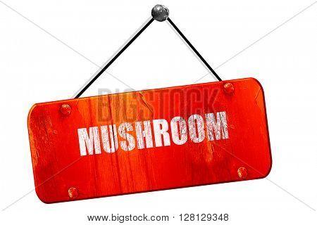 Delicious mushroom sign, 3D rendering, vintage old red sign