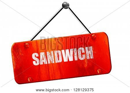 Delicious sandwich sign, 3D rendering, vintage old red sign