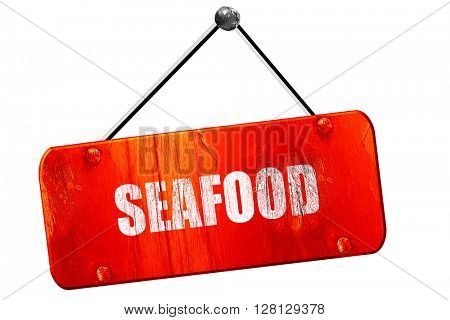 Delicious fish sign, 3D rendering, vintage old red sign