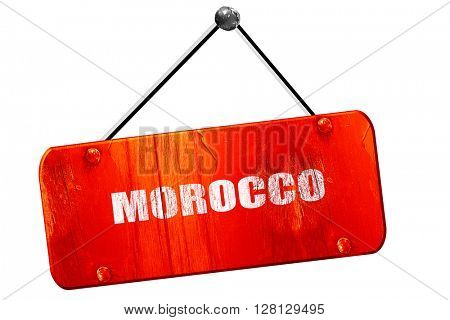 Greetings from morocco, 3D rendering, vintage old red sign