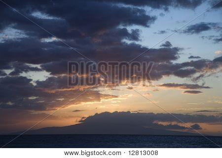 Sunset clouds over the coast of Kihei, Maui, Hawaii, USA.