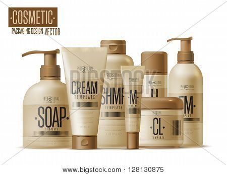 Body care professional series cosmetic brand concept. Tube cream, soap bottle, shampoo packaging. Body care vector template. Realistic cosmetic packaging isolated on white background. Cosmetic brand. Isolated cosmetic package. Cosmetic design.