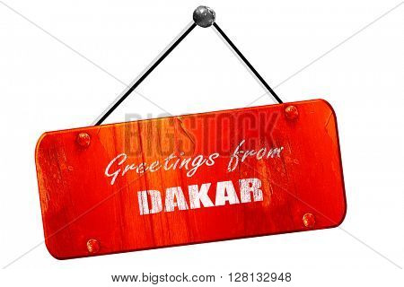 Greetings from dakar, 3D rendering, vintage old red sign