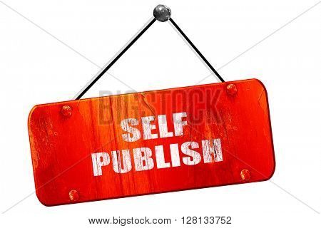 self publishing, 3D rendering, vintage old red sign