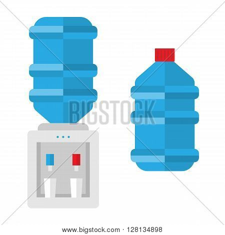 Flat modern cooler vector icon. Blue hot and cool water in tank. Plastic electric cooler and cup