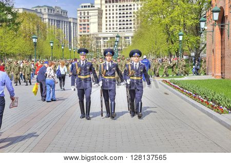 MOSCOW RUSSIA - May 02.2016: Change of Guard of Honor at the Tomb of the Unknown Soldier. Alexander Garden