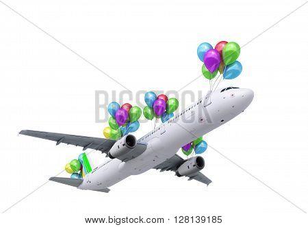 concept of light hops a plane flies on balloons onwhite 3d render
