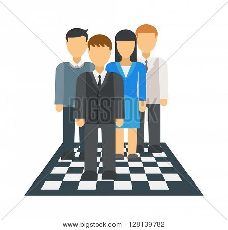 People on chessboard vector illustration.