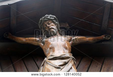 HOHENBERG, GERMANY - MAY 06: Crucifixion, parish church of St. James in Hohenberg, Germany on May 06, 2014.