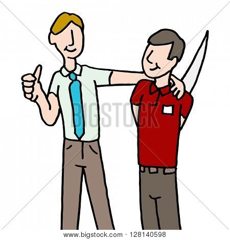 An image of a employee backstabbing manager.