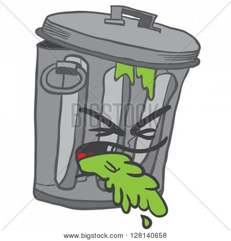 garbage can puke cartoon illustration isolated on white