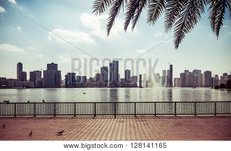 View of corniche and skyline of  Sharjah, UAE.