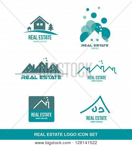 Vector company logo icon element template real estate house roof contour