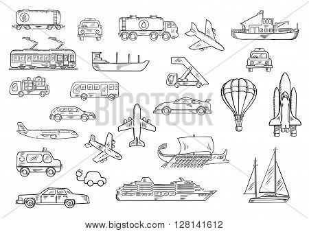 Cars, bus, taxi, ambulance, airplanes, electric train, fishing boat, yacht, tank car and truck, space shuttle, cruise liner, baggage truck and passenger stairs, hot air balloon, ancient galley sketch icons. Transportation theme design