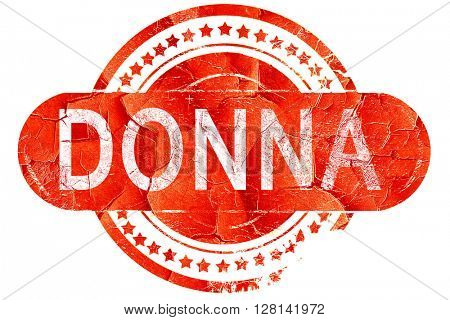 donna, vintage old stamp with rough lines and edges