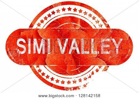 simi valley, vintage old stamp with rough lines and edges