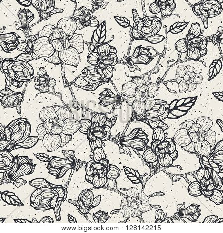 Worn abstract floral hand drawn seamless pattern, vector illustration