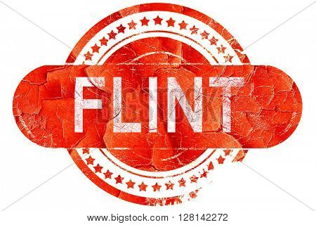 flint, vintage old stamp with rough lines and edges