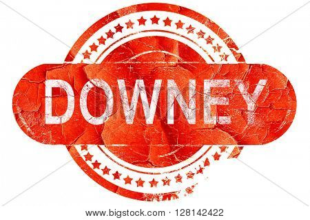 downey, vintage old stamp with rough lines and edges