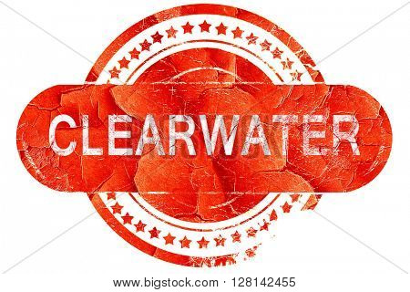 clearwater, vintage old stamp with rough lines and edges