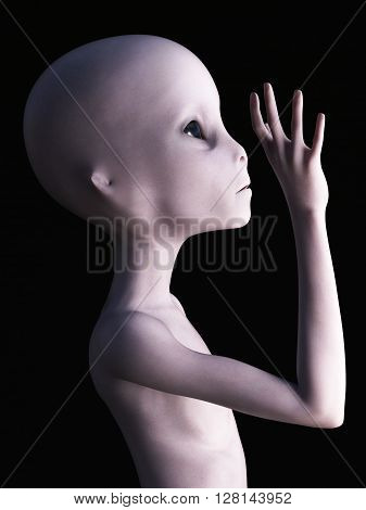Side view of an alien holding its hand up like it's waving. 3D rendering. Black background.