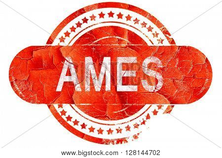 ames, vintage old stamp with rough lines and edges