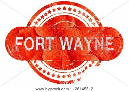 fort wayne, vintage old stamp with rough lines and edges