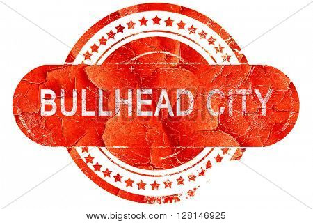 bullhead city, vintage old stamp with rough lines and edges