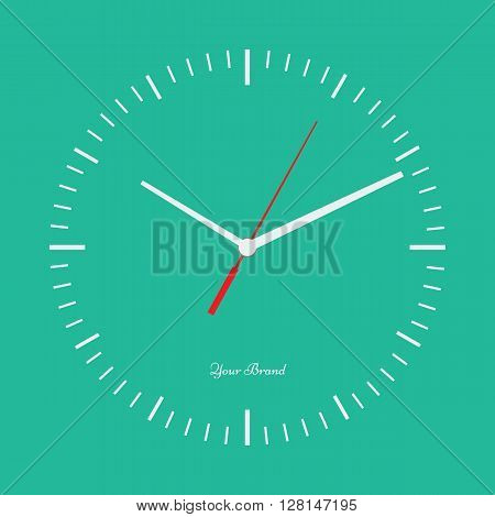 Vector simple classic clock icon without numbers. Clock with solid and flat color design. Isolated solid background. Place your logo.