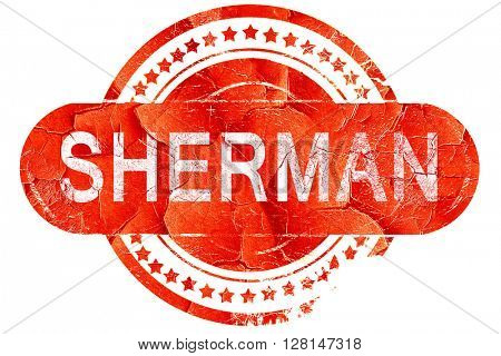 sherman, vintage old stamp with rough lines and edges