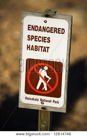 Endangered species habitat sign in Haleakala National Park in Maui, Hawaii.