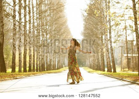 Dancing girl in the rays of the autumn sun. ** Note: Soft Focus at 100%, best at smaller sizes