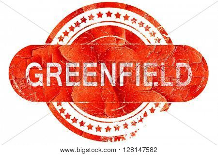 greenfield, vintage old stamp with rough lines and edges