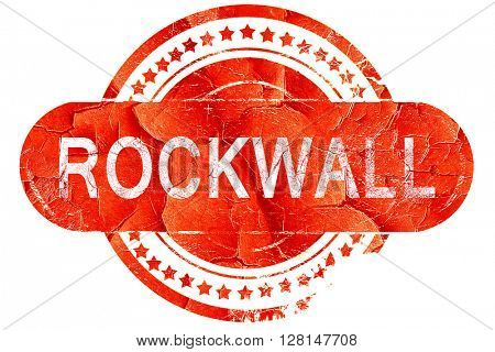 rockwall, vintage old stamp with rough lines and edges