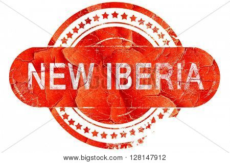 new iberia, vintage old stamp with rough lines and edges